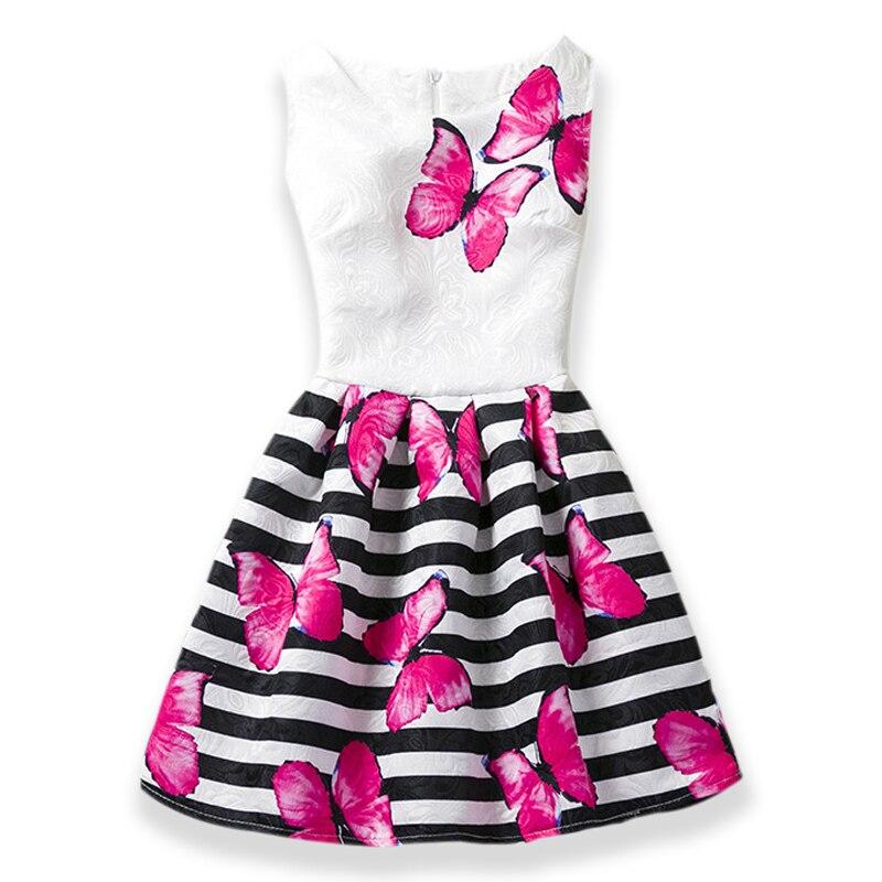 d4465ba1c Hot sales Summer Girls Dress Butterfly Floral Print Princess Teenagers Dress  For Girls Party Kids children