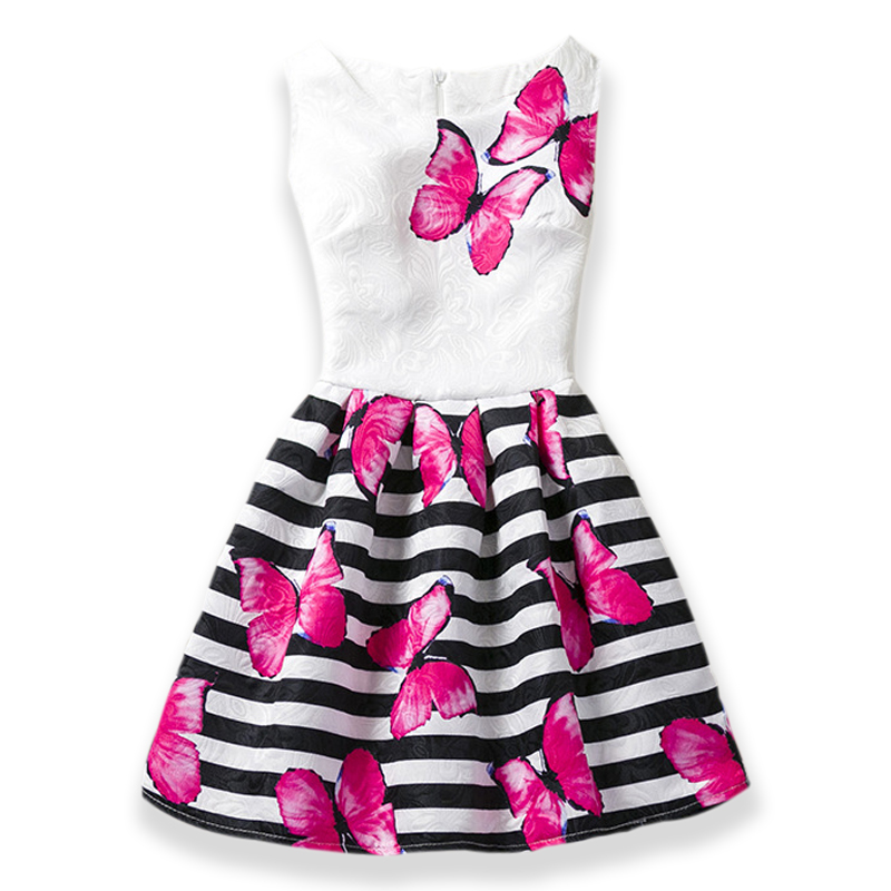 Hot sales Summer Girls Dress Butterfly Floral Print Princess Teenagers Dress For Girls Party Kids children dress Vestido 6-12Y цена 2017
