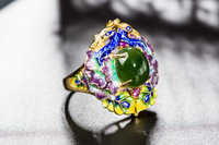 Cloisonne Enamel Jewelry Ring Round Ring Decorated With Thick Gold Rings Mushroom Cartoon