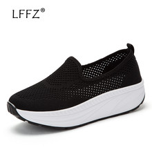 LFFZ 35-42 Fashion Women Flat Shoes Solid Colors Breathable Mesh Flats Thick Bottom Ultralight Sneakers Casual