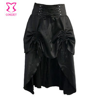 Clubwear Sexy Punk Rock Clothing Black Low Waist 2 Layers Ruffles Long Skirts Womens Vintage Gothic