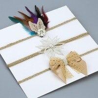 Women Girls Hippie Feather Party Headband Handmade Pearls Lotus Flower Hemp Rope Headband Lace Ribbon Bow