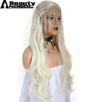 ANOGOL BEAUTY Hair Cap+Long Natural Wave Platinum Blonde Braided Synthetic Lace Front Wig For Women With Baby Hair