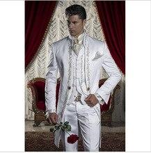 Klassieke Stijl Gouden Borduurwerk Bruidegom Smoking Wit Groomsmen Mannen Wedding Prom Suits Blazer Met Broek (Jas + Broek + Vest)