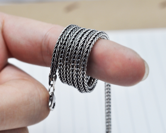 Wholesale 100% Real Pure 925 Sterling Silver Necklace 2.8MM Thick Chain Men Gift Thai silver long necklace free shipping LHYC13