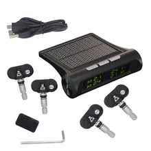TPMS Car Tire Pressure Monitoring System Solar Energy LCD Color Display 4 Internal Sensor Auto Alarm