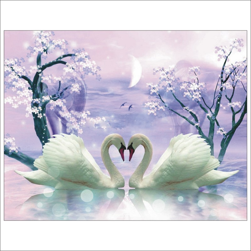 5D DIY Diamond Painting Swan Love Full Square Diamond Embroidery Mural Home Decoration T030