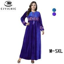 22dc00dc5f7f28 CIVI CHIC Plus Size Vrouwen Maxi Jurk Winter Flanel Fluwelen Lange Gewaad  Femme Bloemen Borduren Gown