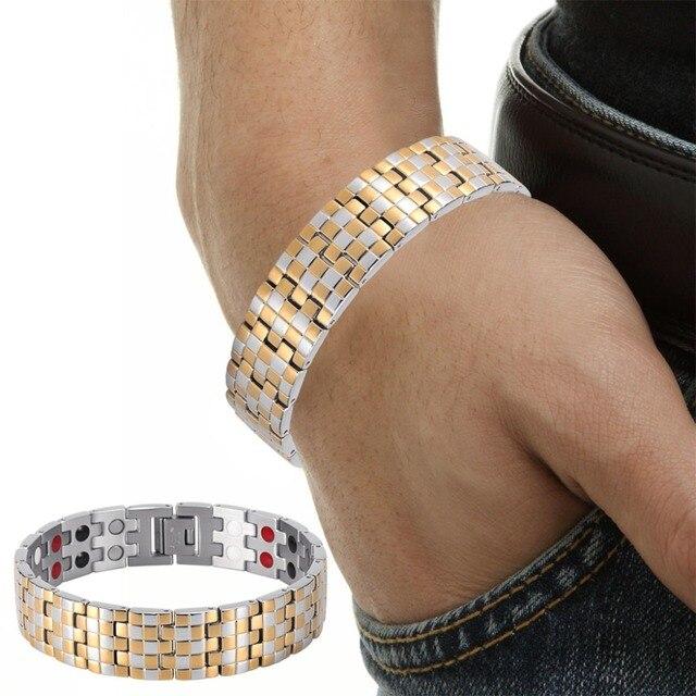 Купить мужские магнитные золотые браслеты welmag трендовые терапевтические