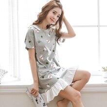 35%100 % Cotton Nightgown Women Sweet Girl Lounge Cute Nightdress Sleepwear Summer Home Dress Casual Nightwear Sleepshirts Shirt