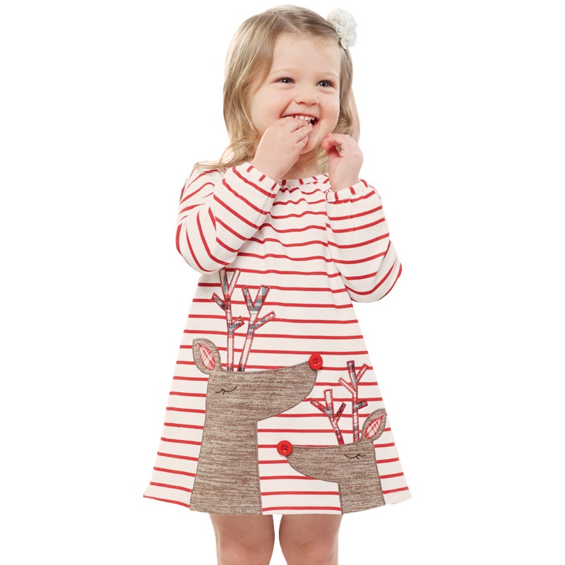 New Sweet Christmas dress for girls princess dress 100% Cotton Striped Deer Christmas Long Sleeve Baby girl Clothes 1-5yrs