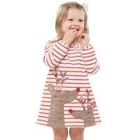 New Sweet Christmas Dress For Girls Princess Dress 100 Cotton Striped Deer Christmas Long Sleeve Baby