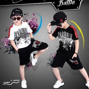 Image 3 - 스포츠 정장 십대 여름 소년 의류 세트 짧은 소매 티셔츠 & 바지 캐주얼 4 5 6 7 8 9 10 12 14 세 아동복
