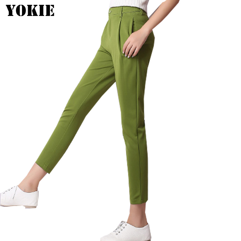 Women harem pants <font><b>pantalones</b></font> <font><b>mujer</b></font> elastic high waist candy color cotton causal trousers women pants Plus size S-XXXL <font><b>4XL</b></font> image