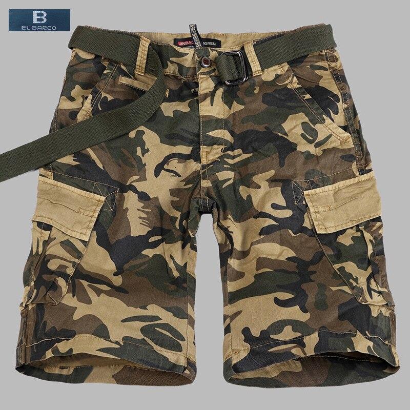 [EL BARCO] Summer Cotton Camouflage Men Casual Shorts Knee-Length Print Pocket Soft Military Army-Green Khaki Male Short Bermuda