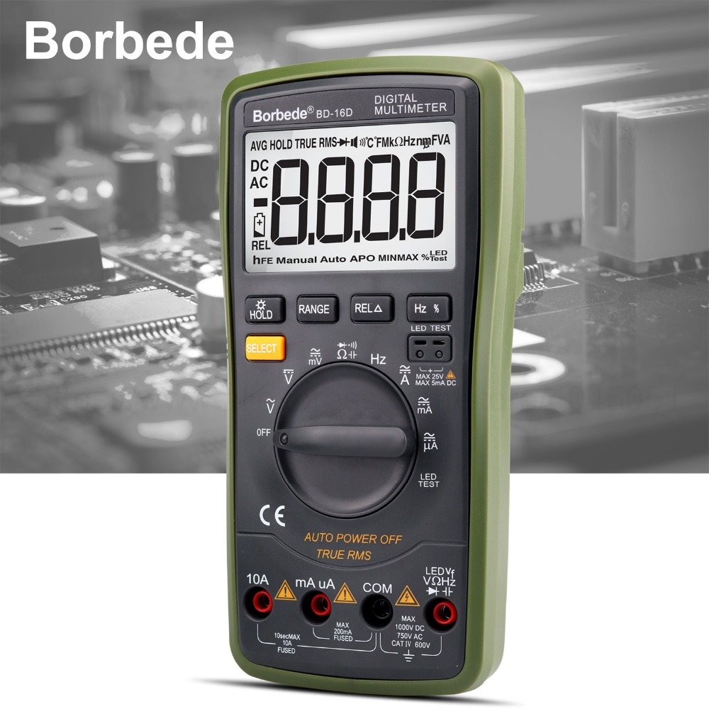 Borbede 16D Digital Multimeter 6000 Counts Auto-range LCD DC AC Resistance Capacitance LED high-voltage output True RMS Tester цена
