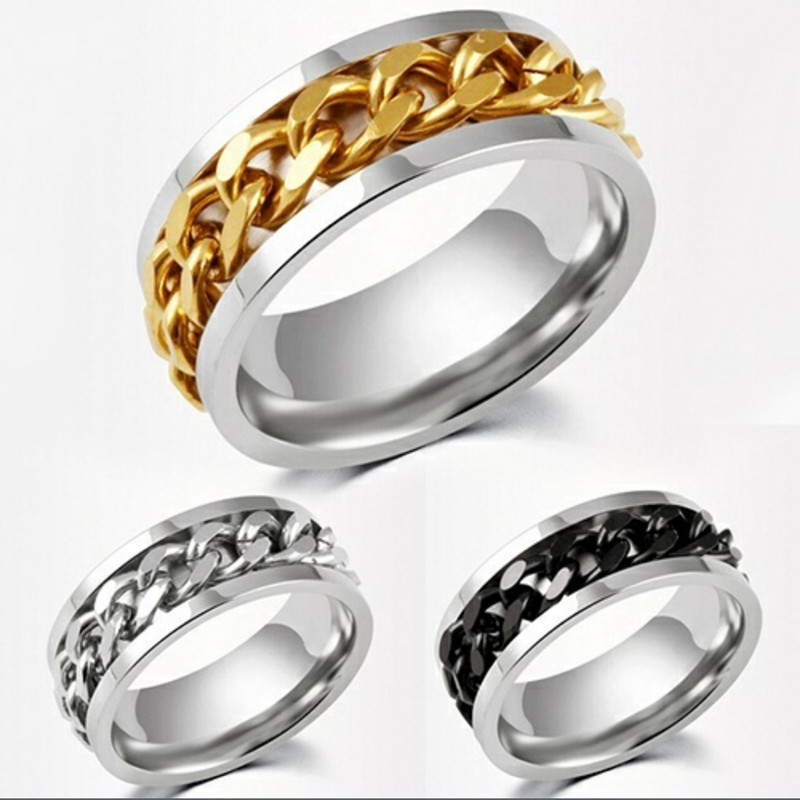 Mens Stainless Steel Ring Gold Silver Black Twist Chain
