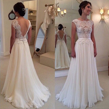 2017 Hot Selling Custom Made A Line Wedding Dresses Vestido de Noiva Casamento Chiffon Lace See through Backless Robe De Mariage