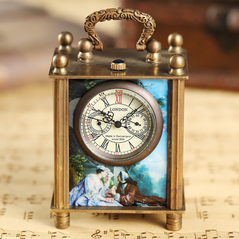Unique Painting Mechanical Watch Bracket Clock Vintage Antique Art Oil Painting Square Retro Bronze Home Decoration Watch Clock