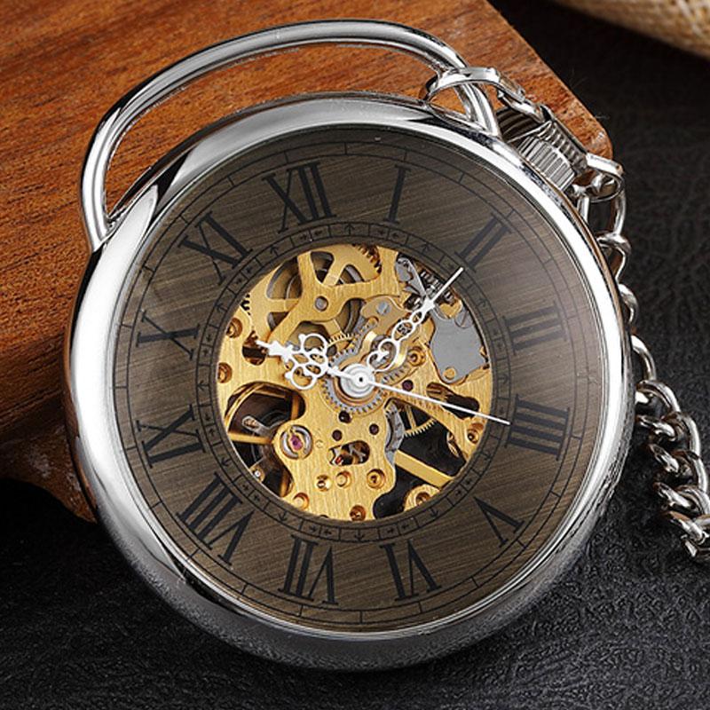 Unique Desgin Big Roman Numerals Skeleton Steampunk Mechanical Pocket Watch Witch Chain Necklace Men Women Silver Gift
