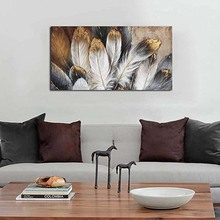 Feather canvas wall art painting large feather picture suitable for living room abstract decorative bedroom home office