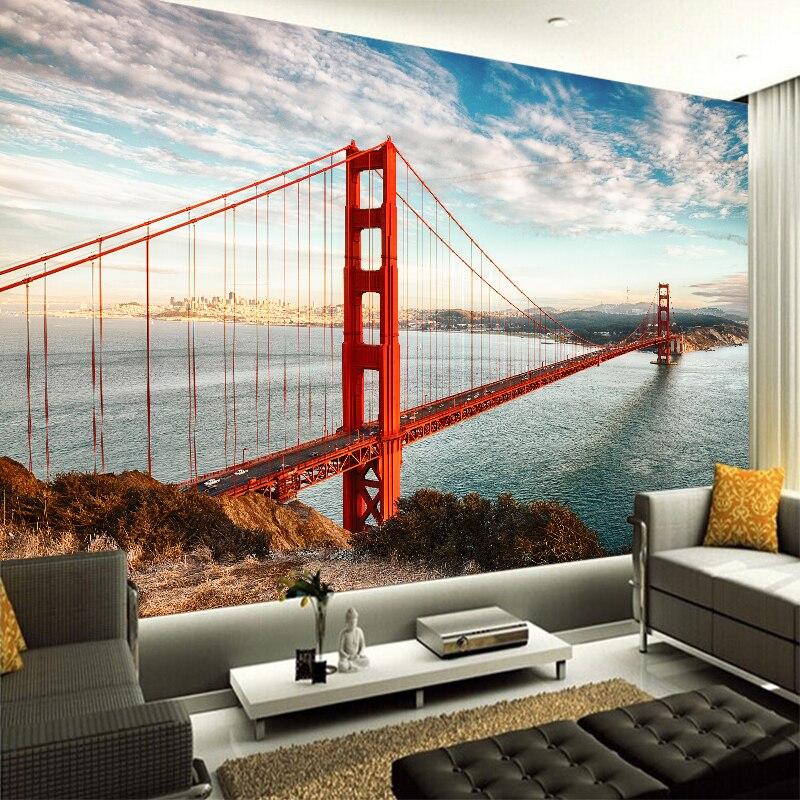 Personalizado de cualquier tamaño 3D pared mural, fondos de pantalla de moda moderna puente Golden Gate 3D perspectiva papel pintado pared etiqueta YBZ087