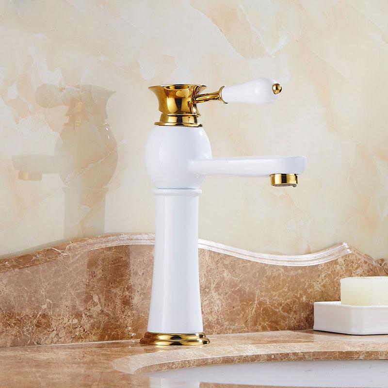 European style faucet, gold plus white basin, hot and cold platform, basin faucet, white paint, copper washbasin head