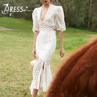 INDRESSME 2019 New Women Sexy Puff Sleeve Lace 2 Piece Set Suit Short Top & Mid Calf Skirt Bodycon Fashion Party Club Dress
