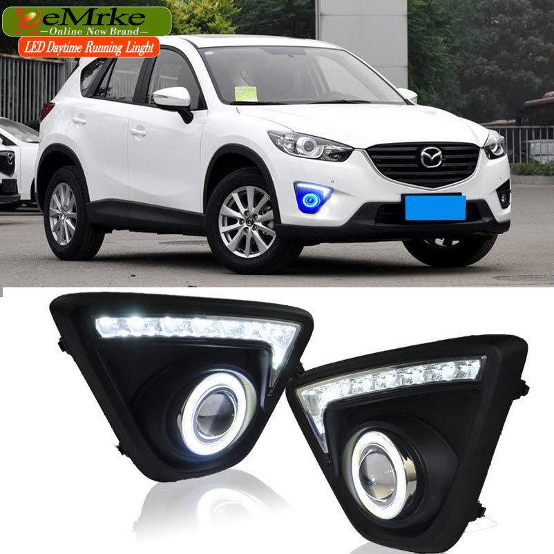 eeMrke LED Daytime Running Lights Angel Eye DRL FOR Mazda CX-5 CX5 Maxx H11 55W Halogen Fog Light Lamp Kits eemrke daytime running lights for mazda6 sedan wagon led angel eye drl halogen h11 55w fog lamp kits