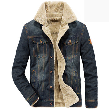 New 2019 Thick Fleece Chest Pockets Rodeo Lined Denim Jackets Mens Jeans Jacket Size M-4XL