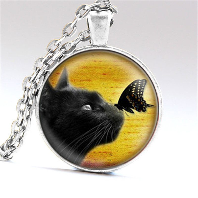 black cat with butterfly pendant necklace glass art print jewelry