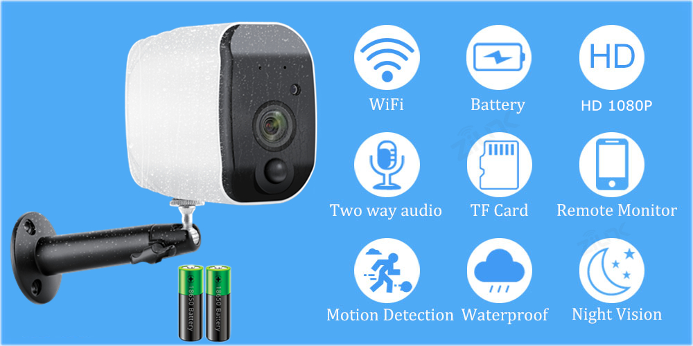 HTB1RRM3XZfrK1Rjy1Xdq6yemFXaH Outdoor IP Camera 1080p HD Battery WiFi Wireless Surveillance Camera 2.0MP Home Security Waterproof PIR Alarm Audio Low Power
