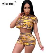 ebd05326acae Abasona Bodycon Camo Print Jumpsuit High Waist Short Sleeve O Neck Sexy  Female Club