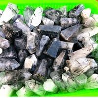 2.2lb Natural black hair crystal and crystal wand dots healing natural stones and mineral wholesale prices