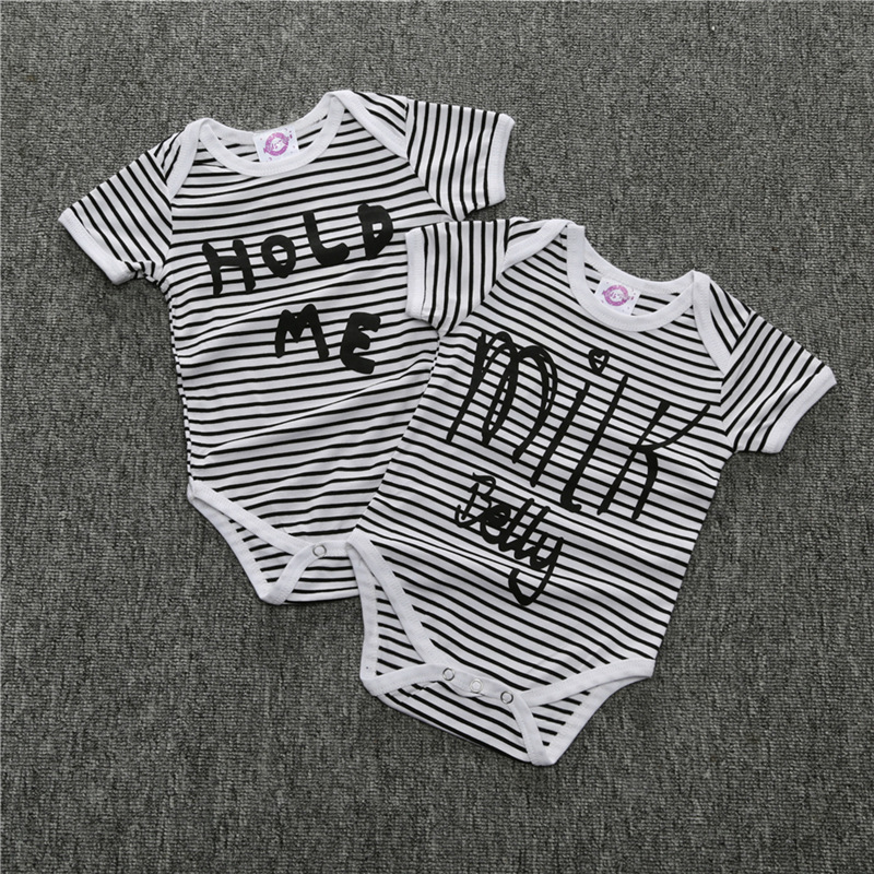 Summer Unisex Baby Girls Boys Striped Short Sleeve Cotton Bodysuit Toddler Infant Newborn Jumpsuit 12M-2T