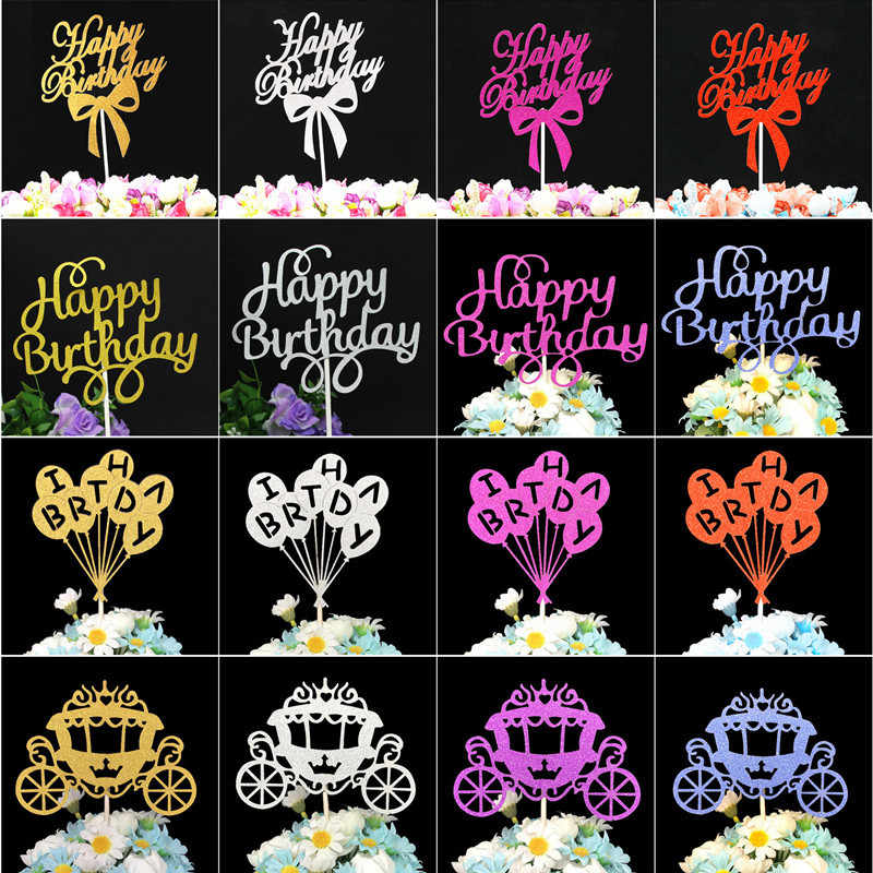 Happy Birthday Cake Topper 1st Birthday Cake Toppers Birthday Cakes Baby Shower Decorations Party Favors Pink Cupcake Toppers