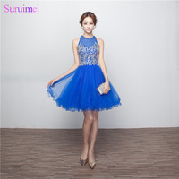 Short Beaded Prom Dresses Knee Length High Quality Tulle Backless Key Hole Royal Blue Girls Prom Gown