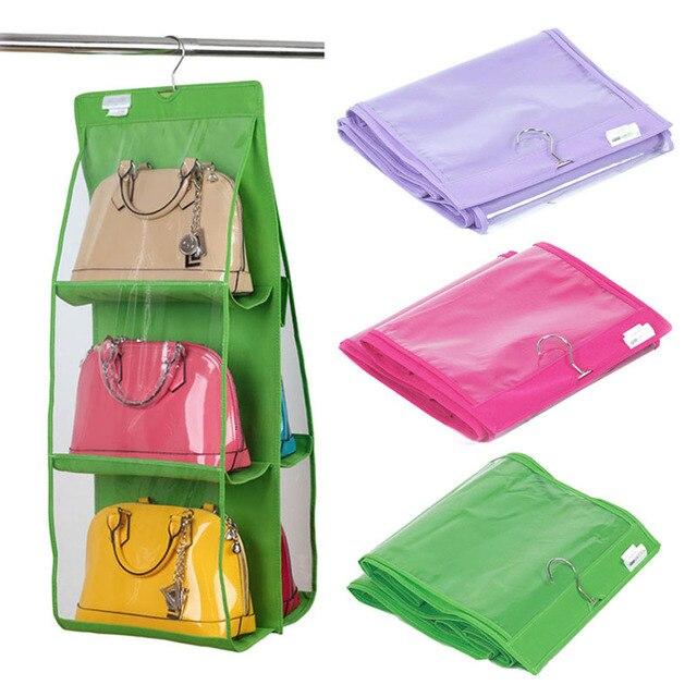 6 Pocket Bag Organizer Transparency Handbag Hanging Storage Tote Bag  Storage Organizer Closet Rank For Home