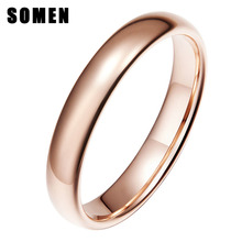 Somen 4mm Vintage Rose Gold Tungsten Carbide Wedding Ring For Women Solid Lovers Engagement Rings Anel Fashion Jewelry