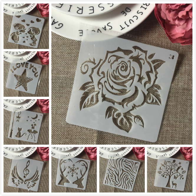 8Pcs/Set 13cm Rose Cat Wing Wooden DIY Layering Stencils Painting Scrapbook Coloring Embossing Album Decorative Card Template