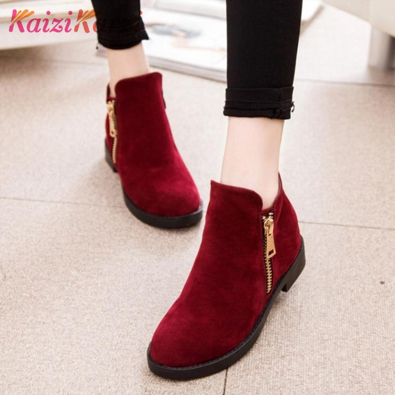 KaiziKarzi Women Flats Boots Zipper Winter Warm Ankle Boots Fashion Simple Ladies Shoes Round Toe Ladies Short Boots Size 35-39 1