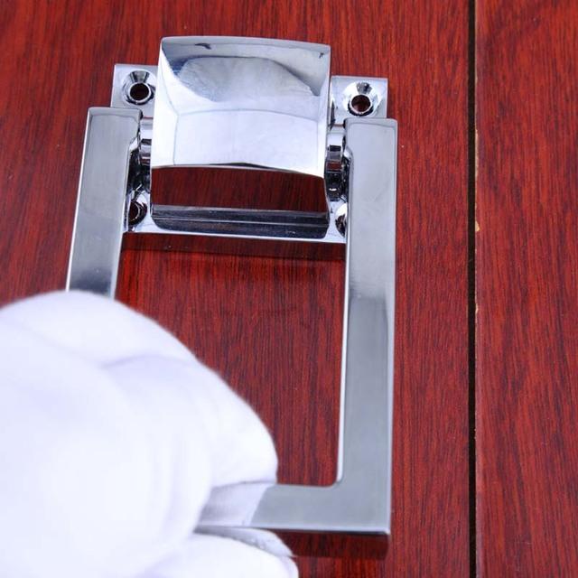 Modern simples desdobrar instalar gota anéis de prata cadeira de madeira/sofá de volta alças puxa maçanetas de cromo aldrava de porta de madeira Quadrado