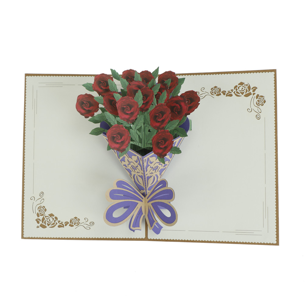3d Pop Up Greeting Cards Rose Flower Birthday Valentine Christmas