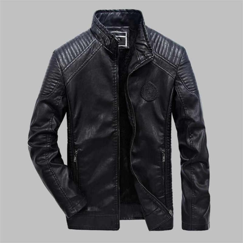 Новинка, большие размеры 6XL, PU искусственная кожа, повседневные мужские куртки, мужская кожаная куртка, пальто, Зимняя Теплая Бархатная Мужская куртка, верхняя одежда для мотоциклистов