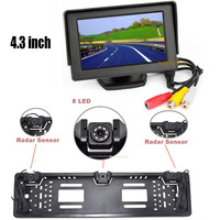3 in1 4.3 Car Mirror Monitor + EU / Russia license plate Rear View Backup Camera Sensor All in one Parking Assistance system