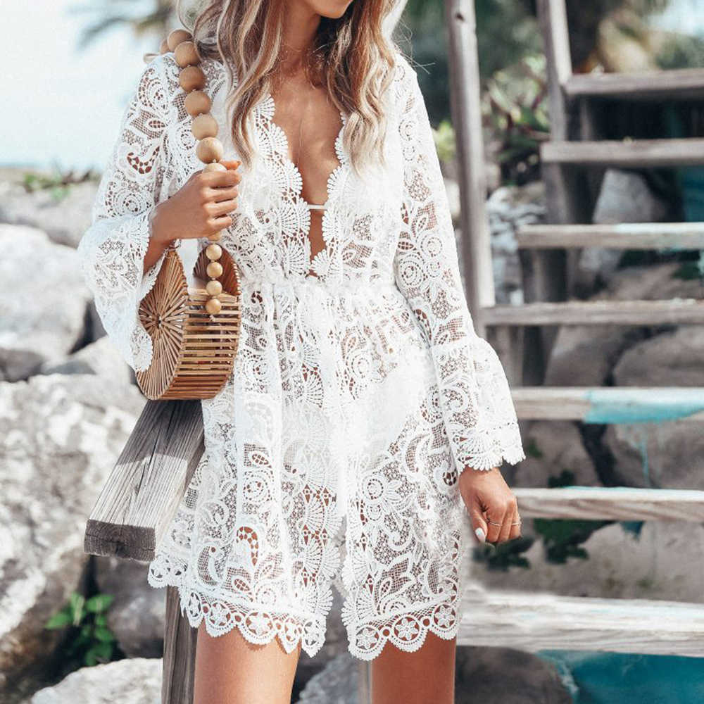 2019 European and American fashion sexy loose see-through women's lace long sleeve v-neck style beach dress