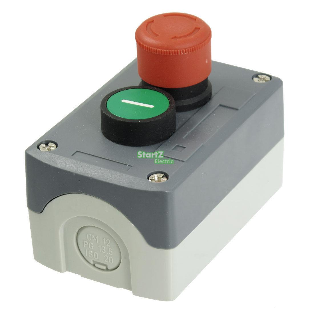 240V 3A Red Emergency Stop Momentary Green Flat Pushbutton Switch Station Box ac 600v 10a normal close plastic shell red sign emergency stop mushroom knob switch 22mm elevator emergency stop switch
