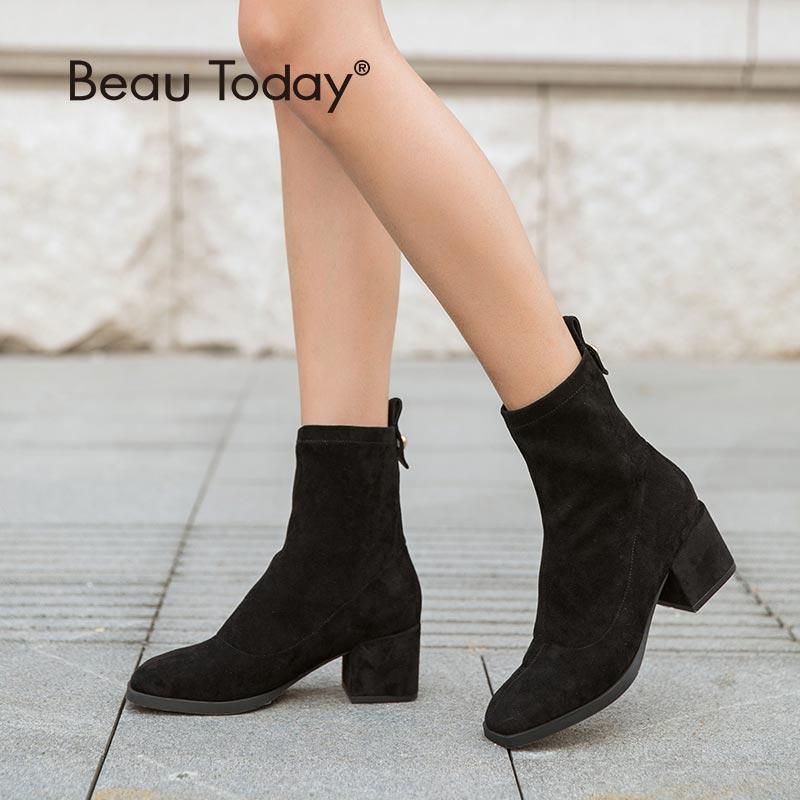 Эластичные женские ботинки BeauToday, осенне зимние ботинки на высоком каблуке из эластичного материала с квадратным носком ручной работы, 03356|Полусапожки|   | АлиЭкспресс