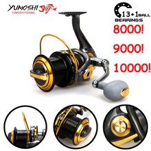 Yumoshi 8000-9000 4.1:1 13+1BB Spinning wheel Fishing Reels Feeder All metal CNC rocker arm Carretilha de pesca Moulinet Ryobi