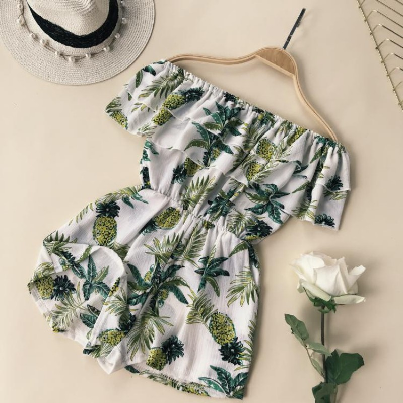 Floral Print Beach Summer Playsuit Sexy Off The Shoulder Ruffles Playsuits   Jumpsuits   Casual Overalls With Pocket Feminino